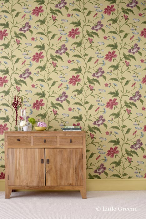 Papel pintado little greene china rose olive for Papel pintado oriental