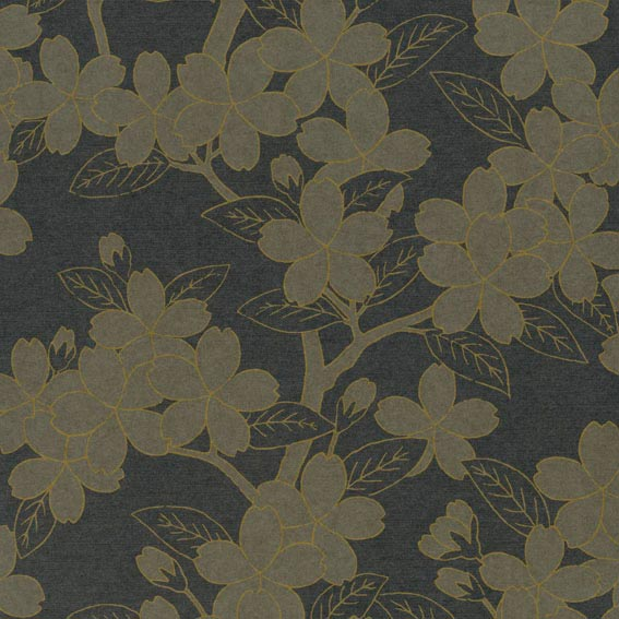 Papel pintado little greene camelia charcoal for Papel pintado oriental