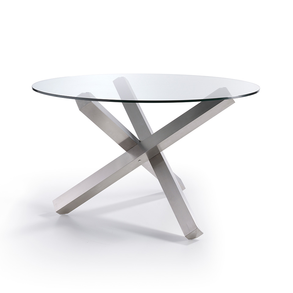 Mesa de comedor redonda moderna jethson for Mesa vidrio redonda para comedor