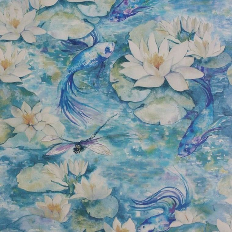 Water Lily Azure Blue W7148-01