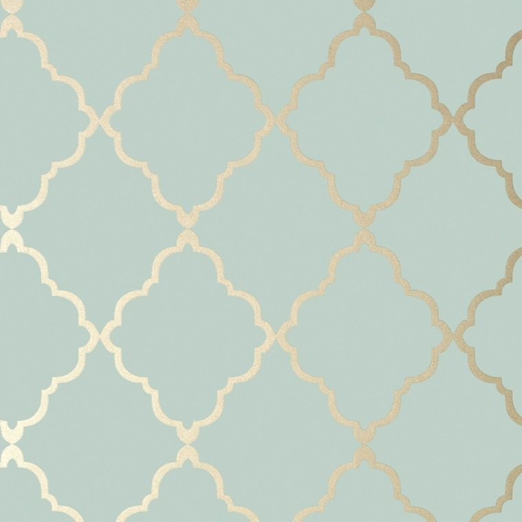 Klein Trellis Metallic Gold-Aqua AT6058